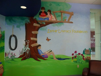 mural of children in tree house