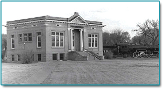 black and white photo of original library building