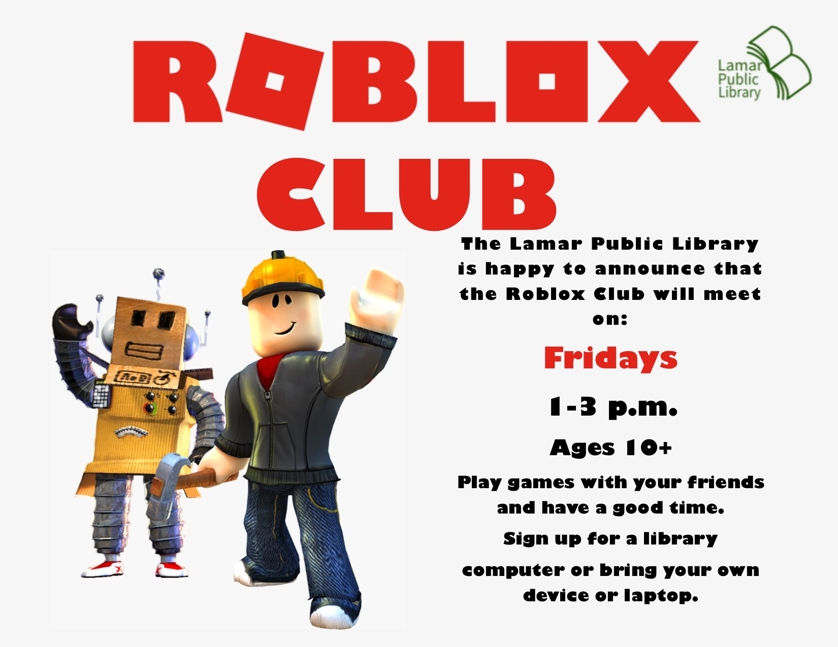 Calendar Lamar Public Library - how to play roblox on a school laptop
